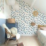 Self adhesive vinyl temporary removable wallpaper, wall decal - Navy polka dot pattern wallpaper - 090