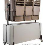 Hängande fällstol och bord förvaring och transportvagn - rymmer upp till 42 stolar och 10 bord